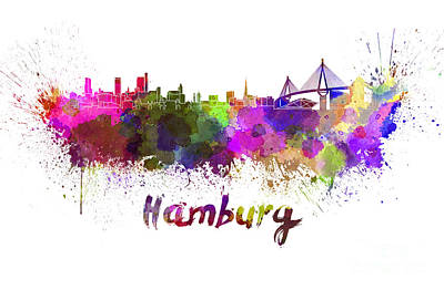 Hamburg Skyline In Watercolor Art Print by Pablo Romero