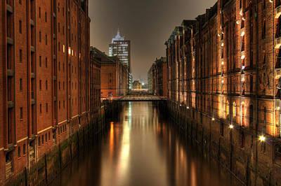 Hamburg Drawing - Hamburg Speicherstadt Bei Nacht by George Inness