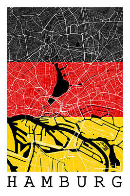 Hamburg Digital Art - Hamburg Street Map - Hamburg Germany Road Map Art On Flag Background by Jurq Studio