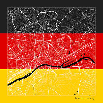 Hamburg Digital Art - Hamburg Street Map - Hamburg Germany Road Map Art On Flag by Jurq Studio