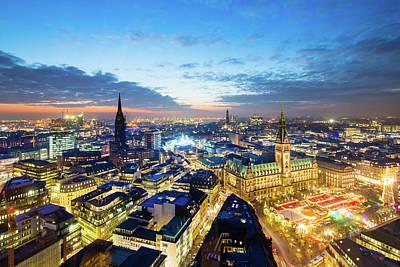 Photograph - Hamburg Town Hall With Christmas Market by Mf-guddyx