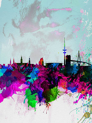 Hamburg Painting - Hamburg Watercolor Skyline by Naxart Studio