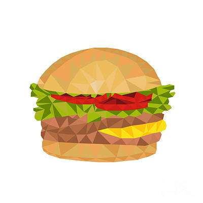Hamburger Low Polygon Art Print by Aloysius Patrimonio