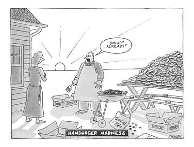 Dine Drawing - Hamburger Madness by Jack Ziegler