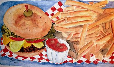 Hamburger Plate With Fries Art Print by Carol Grimes