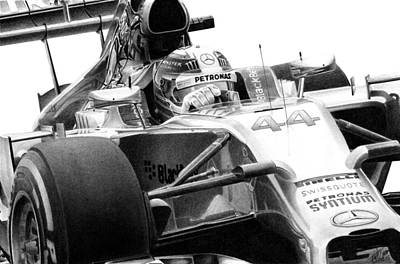Formula One Drawing - Hamilton 44 by Lyle Brown