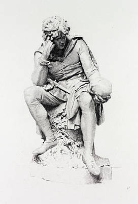 Lord Drawing - Hamlet, From The Statue By Lord Ronald Gower by Flameng, Leopold (1831-1911), English