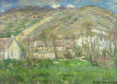 French Signs Painting - Hamlet In The Cliffs Near Giverny by Claude Monet
