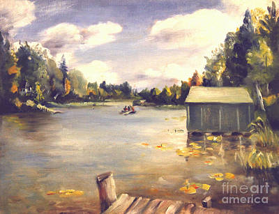 Painting - Hamlin Lake Dock 1945 by Art By Tolpo Collection