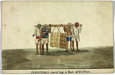 Hammals Carrying A Bale Of Cotton Art Print