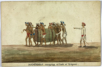 Of Liquor Photograph - Hammals Carrying A Cask Of Liquor by British Library