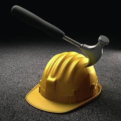 Hard Hats Photograph - Hammer Hitting A Hard Hat by Ktsdesign