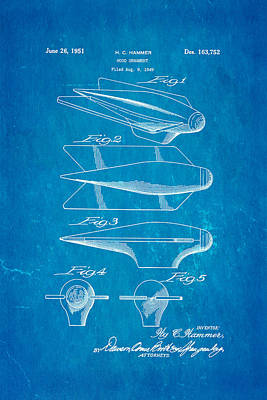 Hammer Hood Ornament Patent Art 1951 Blueprint Art Print