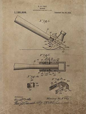 Hammer Patent Drawing Art Print by Dan Sproul