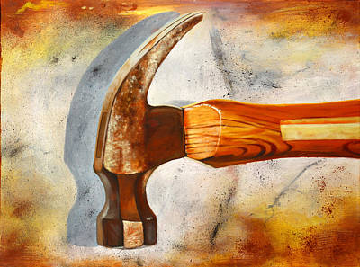Tools Wall Art - Painting - Hammered by Karl Melton