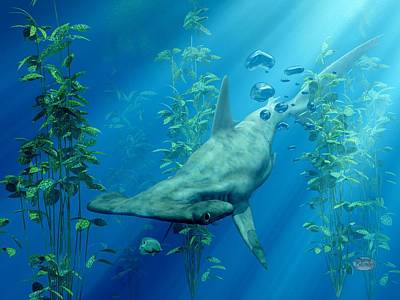 Nurse Shark Digital Art - Hammerhead Art by Daniel Eskridge