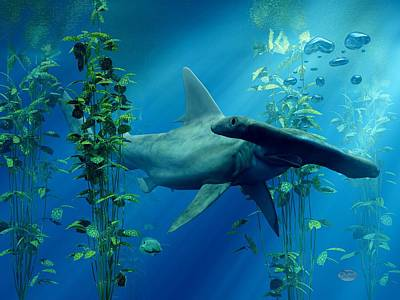 Undersea Digital Art - Hammerhead by Daniel Eskridge