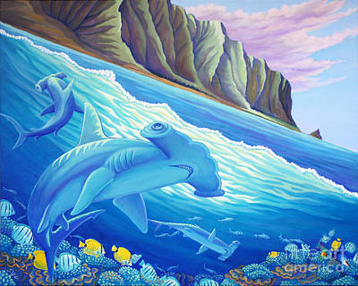 Painting - Hammerhead Sharks In Kaneohe Bay by Tammy Yee