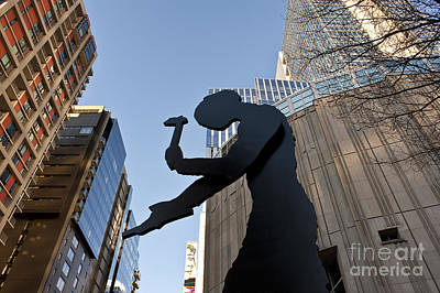 Kinetic Art Photograph - Hammering Man. Downtown, Seattle by Jim Corwin