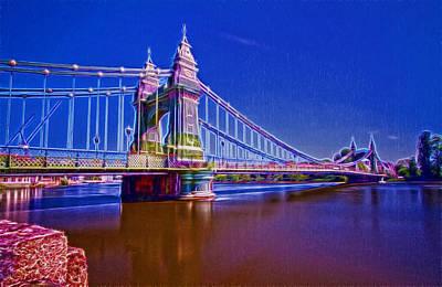 Hammersmith Thames Bridges  Art Print by David French