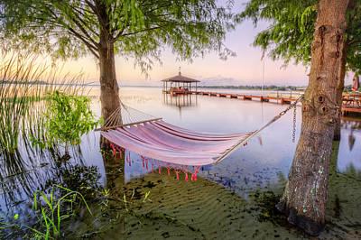 Bahamas Pier Photograph - Hammock At The Lake by Debra and Dave Vanderlaan