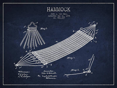 Swinging Digital Art - Hammock Patent Drawing From 1895 by Aged Pixel