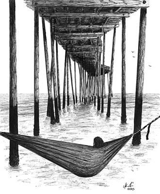 Under The Ocean Drawing - Hammock Under The Pier by Adam Vereecke