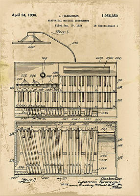 Hammond Photograph - Hammond Organ Patent by Bill Cannon