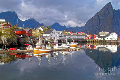 Hamnoy Fishing Village On Lofoten Islands Art Print by Heiko Koehrer-Wagner