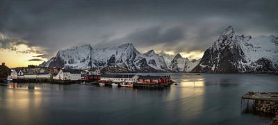 Sunset In Norway Photograph - Hamnoy Village On Lofoten, Nordland by Panoramic Images