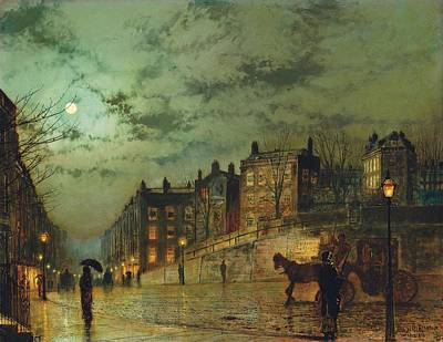 Looking Down Painting - Hampstead Hill, Looking Down Heath Street, 1881 by John Atkinson Grimshaw