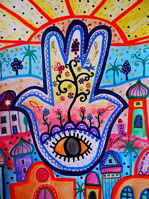 Painting - Hamsa Jerusalem by Pristine Cartera Turkus