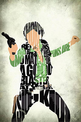 Typographic Painting - Han Solo From Star Wars by Inspirowl Design