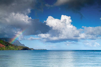 Hanalei Bay And Rainbow Art Print by Roger Mullenhour