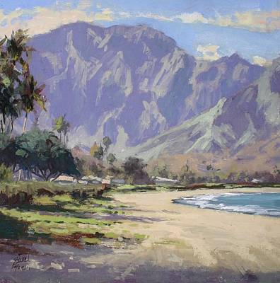 Na Pali Hawaii Painting - Hanalei Mountains by Pierre Bouret