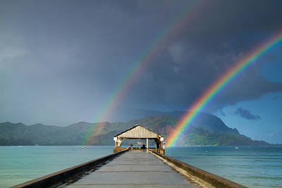 Hanalei Pier And Double Rainbow Art Print