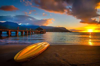 Hanalei Pier In Kauai At Sunset Art Print