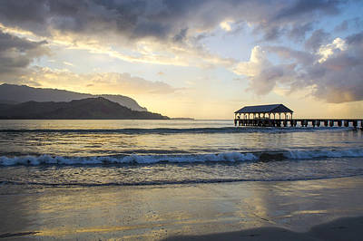Photograph - Hanalei Pier Sunset by Saya Studios