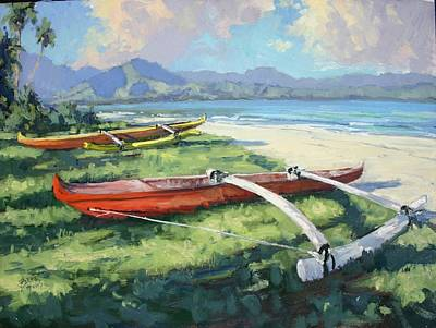 Na Pali Hawaii Painting - Hanalei Taxis by Pierre Bouret