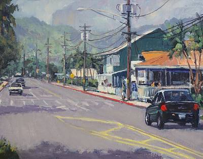 Na Pali Hawaii Painting - Hanalei Town by Pierre Bouret