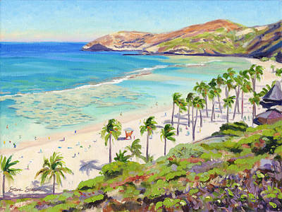 Oahu Painting - Hanauma Bay - Oahu by Steve Simon