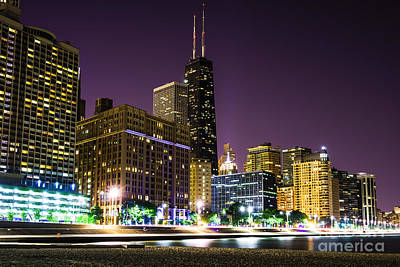 Midwest Photograph - Hancock Building With Dusk Chicago Skyline by Paul Velgos