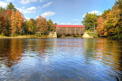 Landscape Photograph - Hancock - Greenfield Covered Bridge In Autumn by Donna Doherty