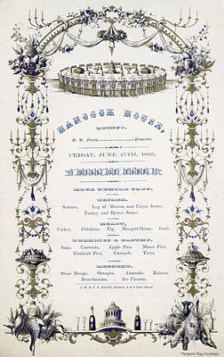 Artful And Whimsical Digital Art - Hancock House Quincy Menu 1853 by Pierpoint Bay Archives