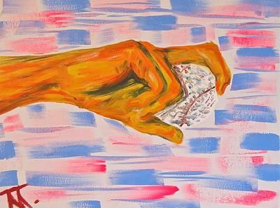 Hand And Baseball Art Print by Troy Thomas