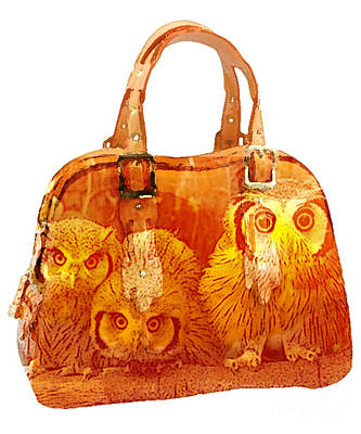 Baby Mixed Media - Hand Bag Baby Owls Painting by Marvin Blaine