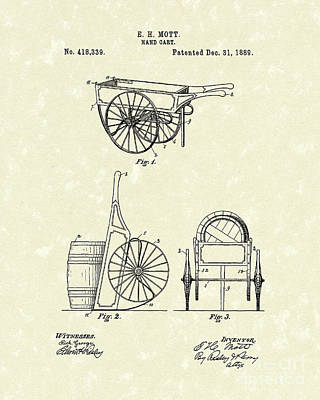 Drawing - Hand Cart 1889 Patent Art by Prior Art Design