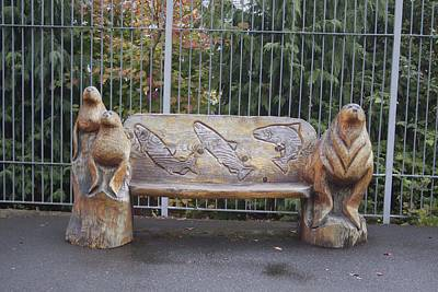 Photograph - Hand Carved Bench by S and S Photo