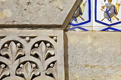 Fleur De Lis Photograph - Hand Carved Blue Tile Of Europe by David Letts
