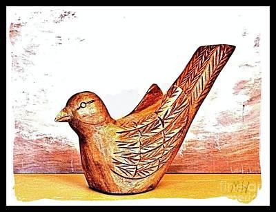 Hand Carved Wooden Bird Art Print